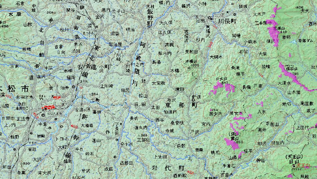燧ヶ岳可視マップ@二本松東部