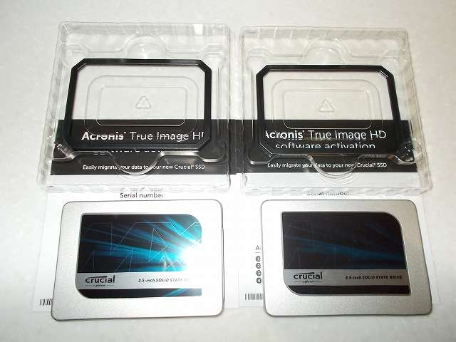 Crucial Micron SSD MX300 525GB 3D TLC NAND 3年保証 CT525MX300SSD1 開封、9.5mmアダプター付き(9.5mm 化スペーサー)と Acronis True Image HD プロダクトキー