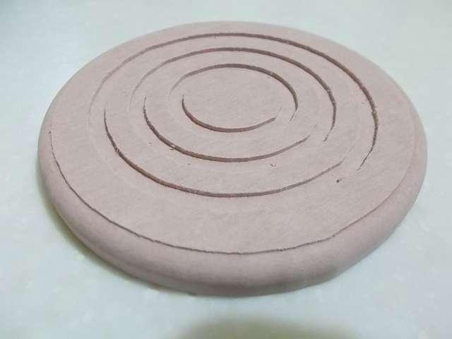 珪藻土コースター 丸型 開封、カラー:レッド