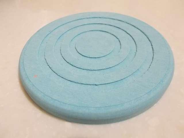 珪藻土コースター 丸型 開封、カラー:ブルー