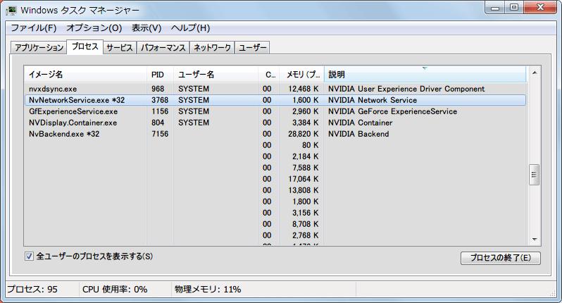 GeForce Experience 2.11.4.0 インストール後、タスクマネージャのプロセスタブから NvNetworkService.exe を終了させる
