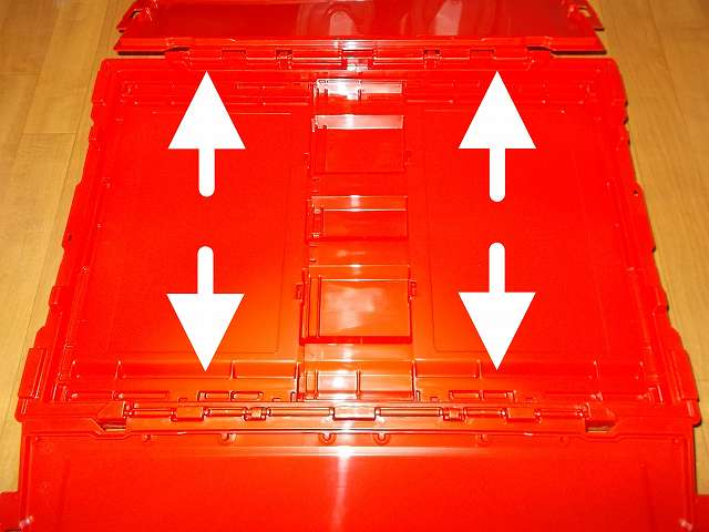 トラスコ中山 TRUSCO TR-C50B 薄型折りたたみコンテナ 50L ロックフタ付 レッド 組立、ロック解除後ふたを両脇に開く
