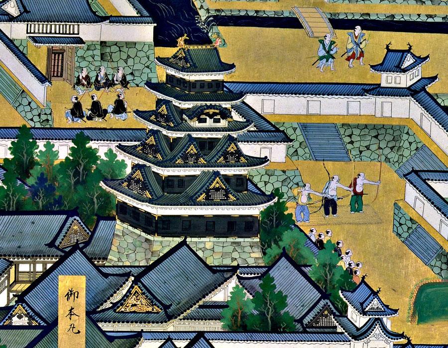 『江戸図屏風』に描かれた元和度もしくは寛永度天守(PDF画像借用)