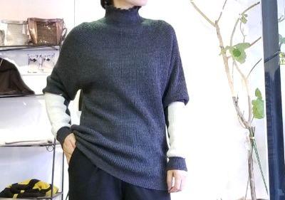 袖配色チャコールグレー1
