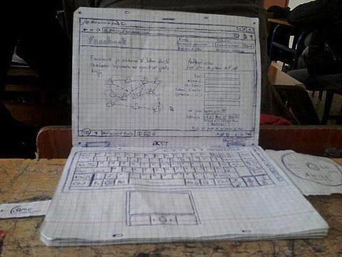 紙でできたノートパソコン