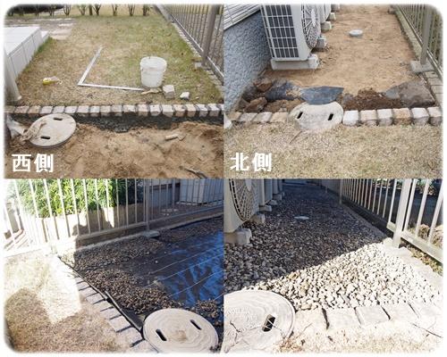 縁石ピンコロから砂利敷き