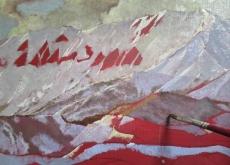 大山の絵 制作序盤