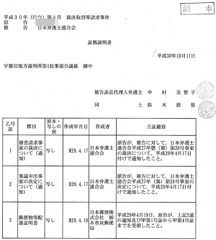 被告日弁連 証拠説明書 菊池裕太郎 中村美智子弁護士 鈴木敦悠弁護士