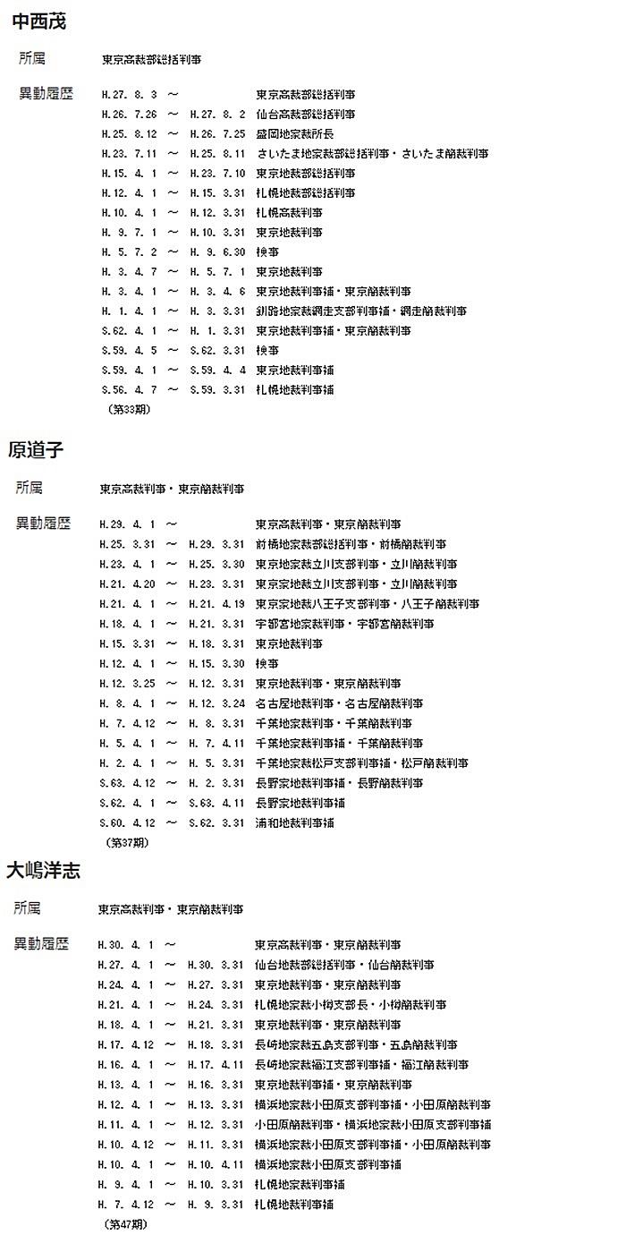 中西茂判事 原道子判事 大嶋洋志判事 被告日弁連 東京高裁