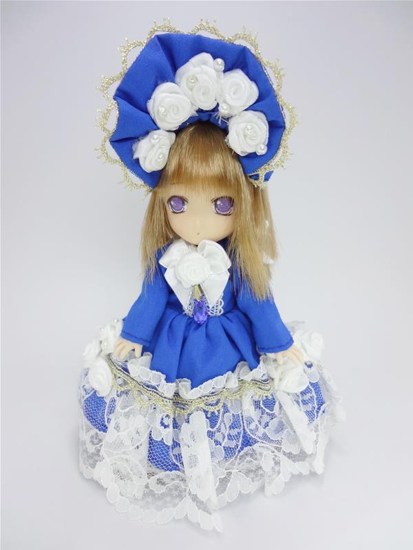 [黒月project] オビツ11 ドレスセット 青×白