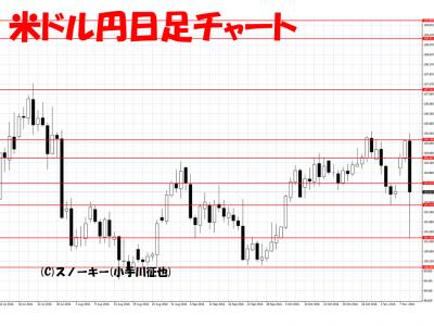 トランプ・ショック為替 チャート画像米ドル円日足