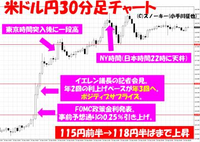 2016年12月米FOMC米ドル円30分足チャート