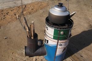 161126ロケットストーブで湯沸かす
