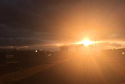 雪の日夕陽