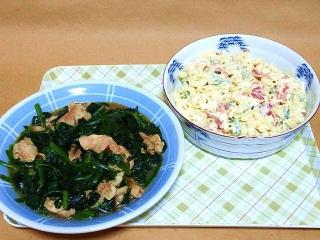 170131_4427 財田さんの料理・豚肉とほうれん草のエスニック風炒め・マカロニ・サラダVGA