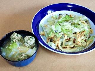 170203_4432 本日の料理・葱入りつみれ汁・薄揚げの野菜炒めVGA