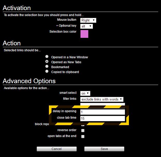 Linkclump DelayInOpening CloseTabTime