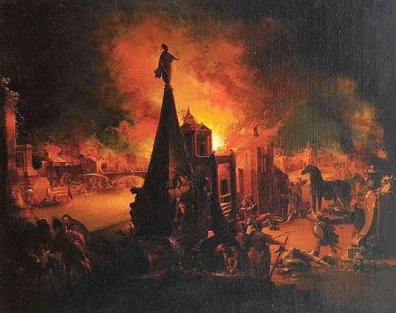 Johann Georg Trautmann『The Burning of Troy』 1759から1762年頃