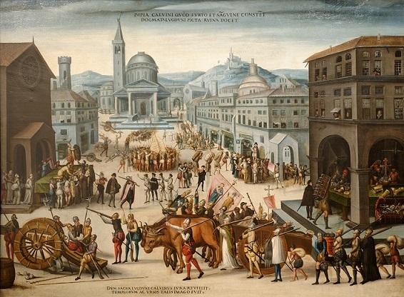 1562年にカルヴァン主義派によるリヨン教会の略奪。
