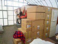 【写真】納品されたいちご販売用の資材が積み上げられた様子