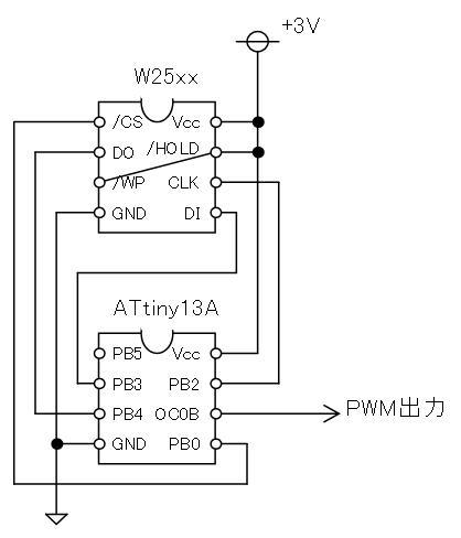 ATtiny13Aで音声再生回路図