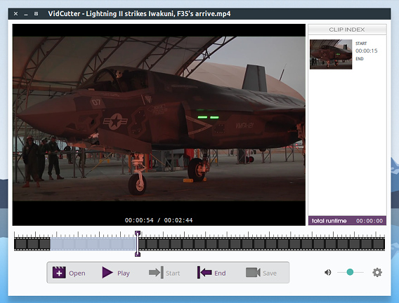 VidCutter Ubuntu 動画編集 開始位置の指定