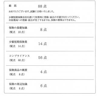 少額短期保険募集人試験結果レポート