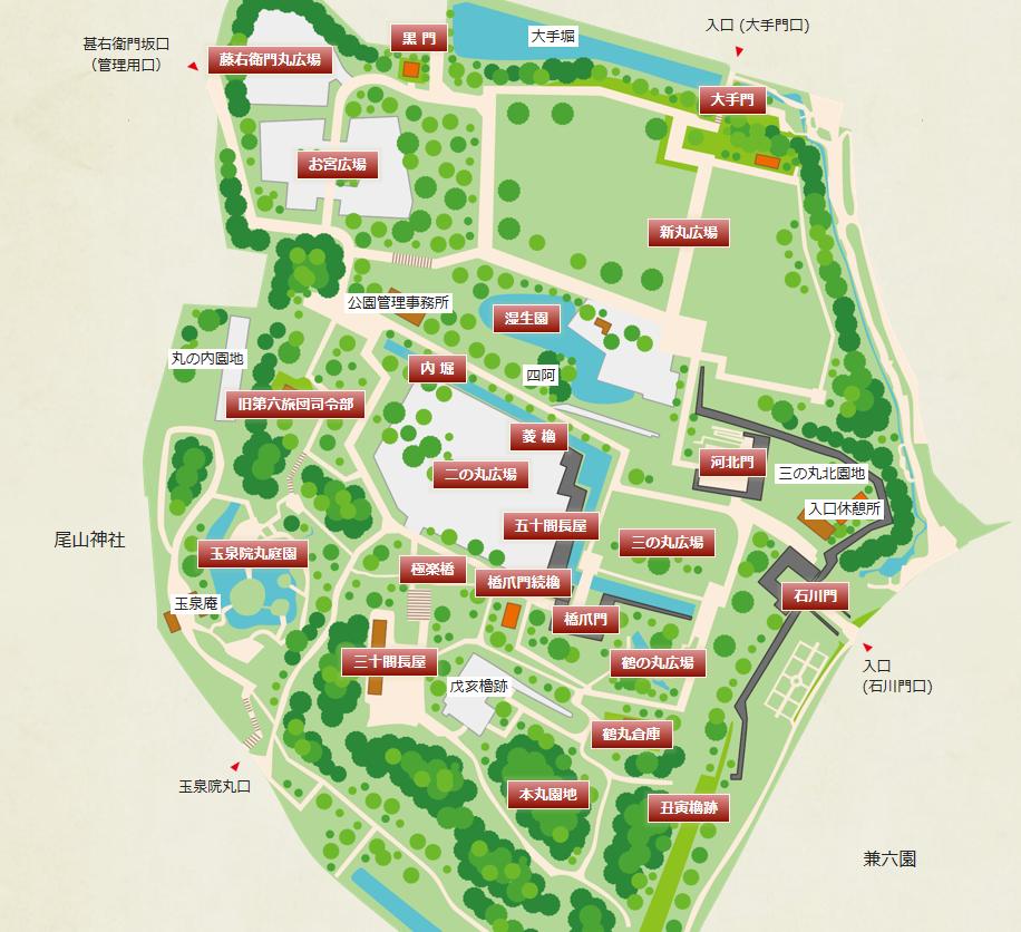 金沢城施設位置