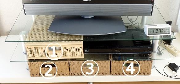 リビング・テレビ台コード整理④