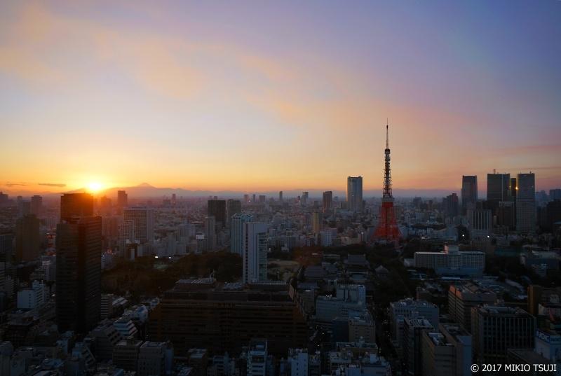 絶景探しの旅 - 0116 日没の富士山と東京タワーのある景色  (東京都 港区)